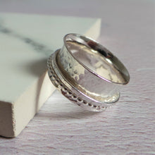 Silver hammered fidget ring