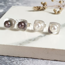 Pearl Square Sterling Silver Stud Earrings