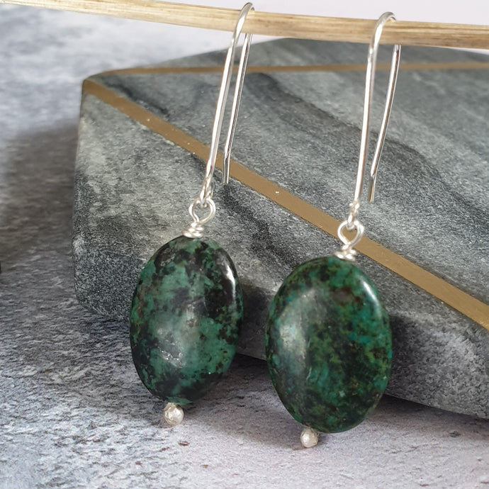 Green Bead Sterling Silver Drop Earrings