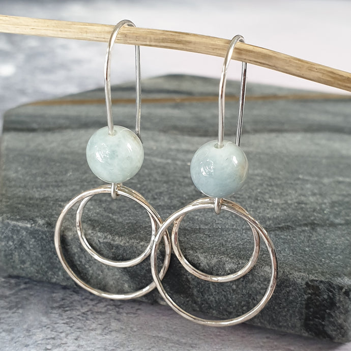 Gem Silver Circle Drop Earrings