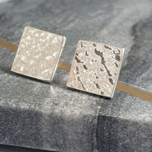 Hammered Large Square Stud Earrings