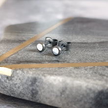 Black oxidised silver recycled silver stud earrings