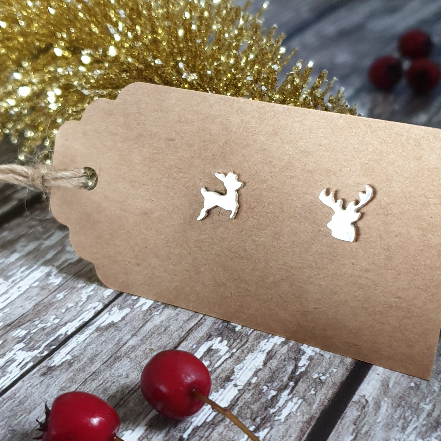 Cute Silver Reindeer Stud Earrings