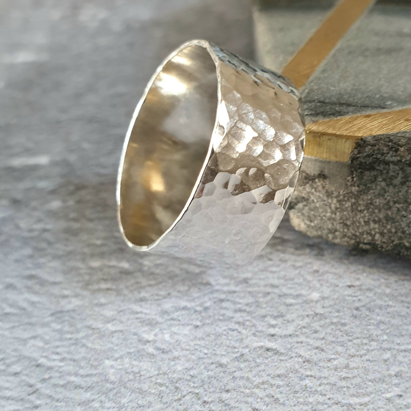 Super Wide Hammered Silver Ring