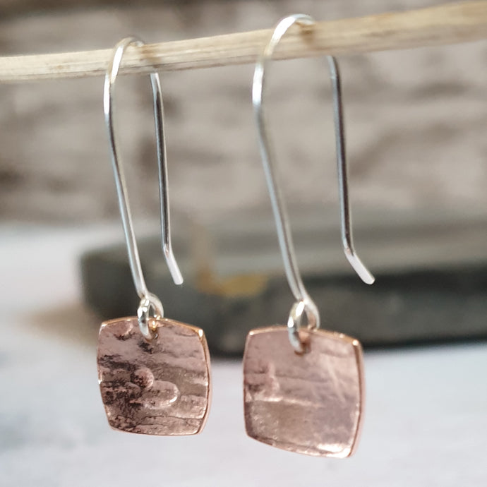 Textured Copper Dangly Earrings