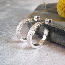 Silver Textured Hoop Earrings