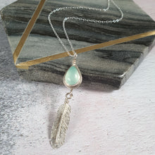Blue Chalcedony Feather Necklace
