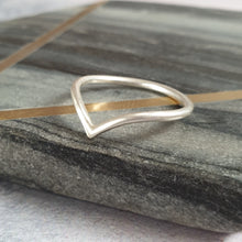 Brushed sterling silver v shaped band