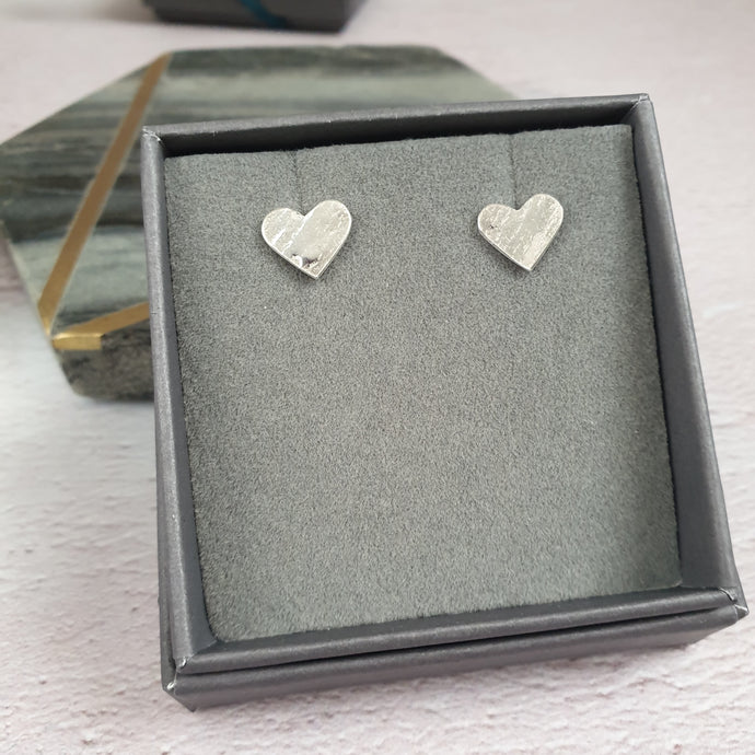 Hammered Heart Silver Stud Earrings