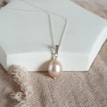 Pink Pearl and Silver Necklace