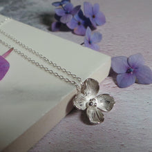 Hydrangea Silver Flower Necklace