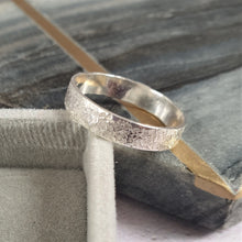 Wide Organic Textured Silver Ring