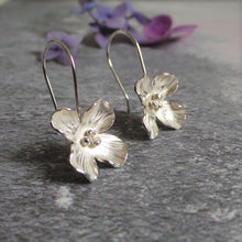 Hydrangea Silver Flower Drop Earrings