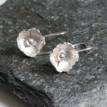 Handmade Flower Silver Drop Earrings