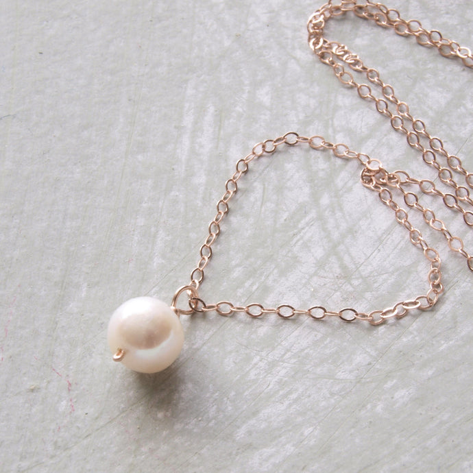 Handmade Rose Gold Pearl Bridal Necklace
