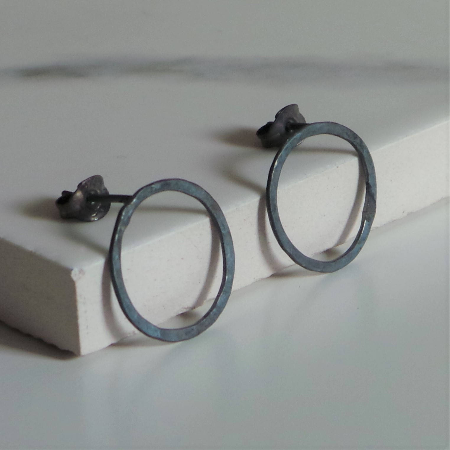 Black Circle Sterling Silver Earrings