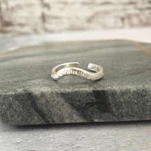 Silver Wave Hammered Toe Ring