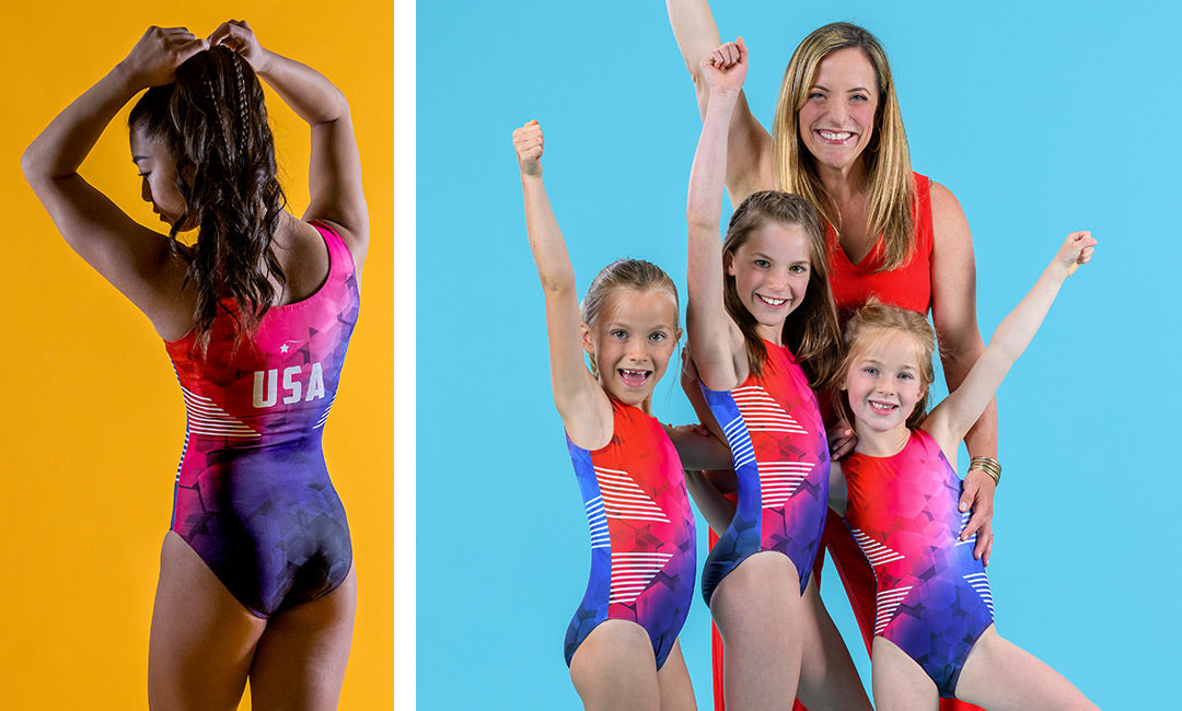 Left image: the back of a girl wearing the Victorious red, white, and blue USA leotard and adjusting her ponytail. Right image: Destira CEO Jen Atkinson with her three daughters wearing the Victorious red, white, and blue leotard.