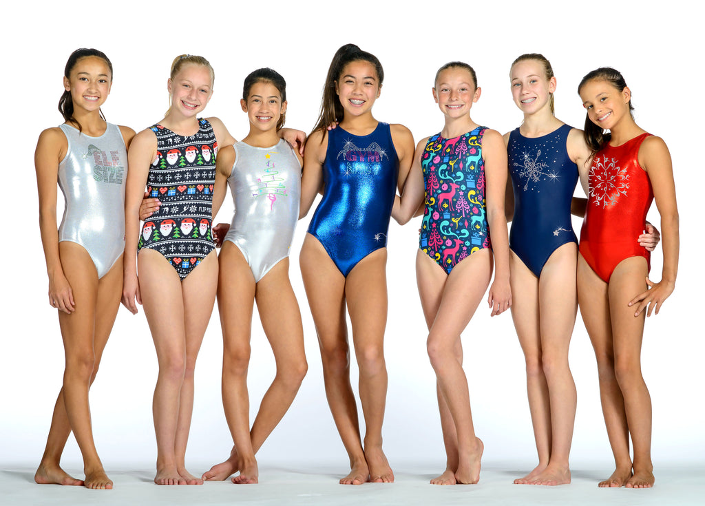 Group of girls in holiday leotards