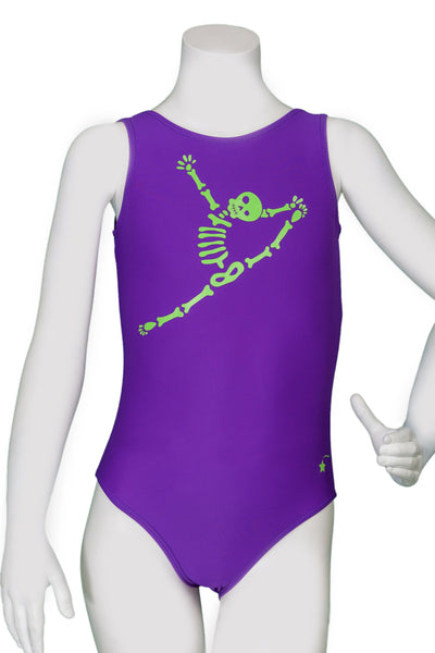 Glow in the Dark Leaping Skeleton Leotard