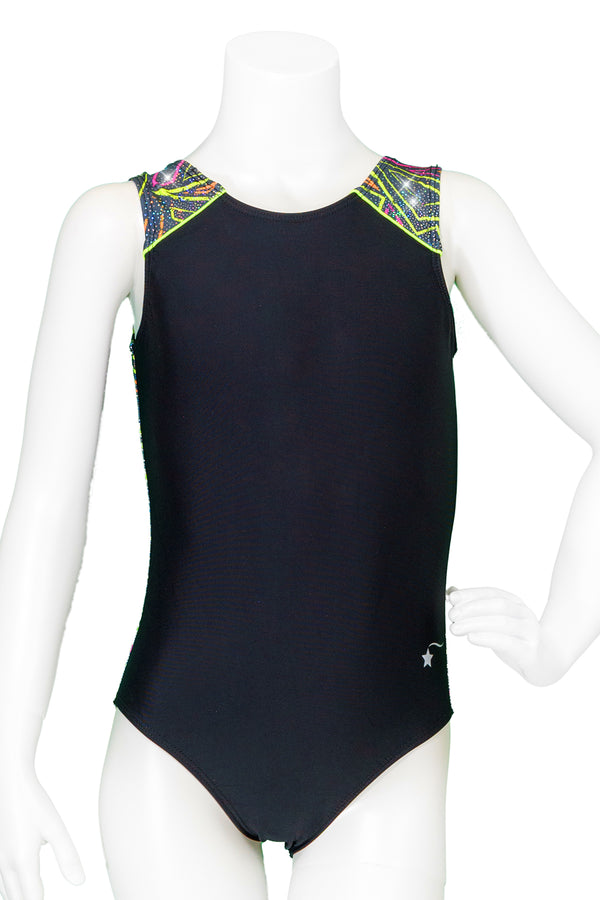 Neon Maze Drop Shoulder Tank Leotard