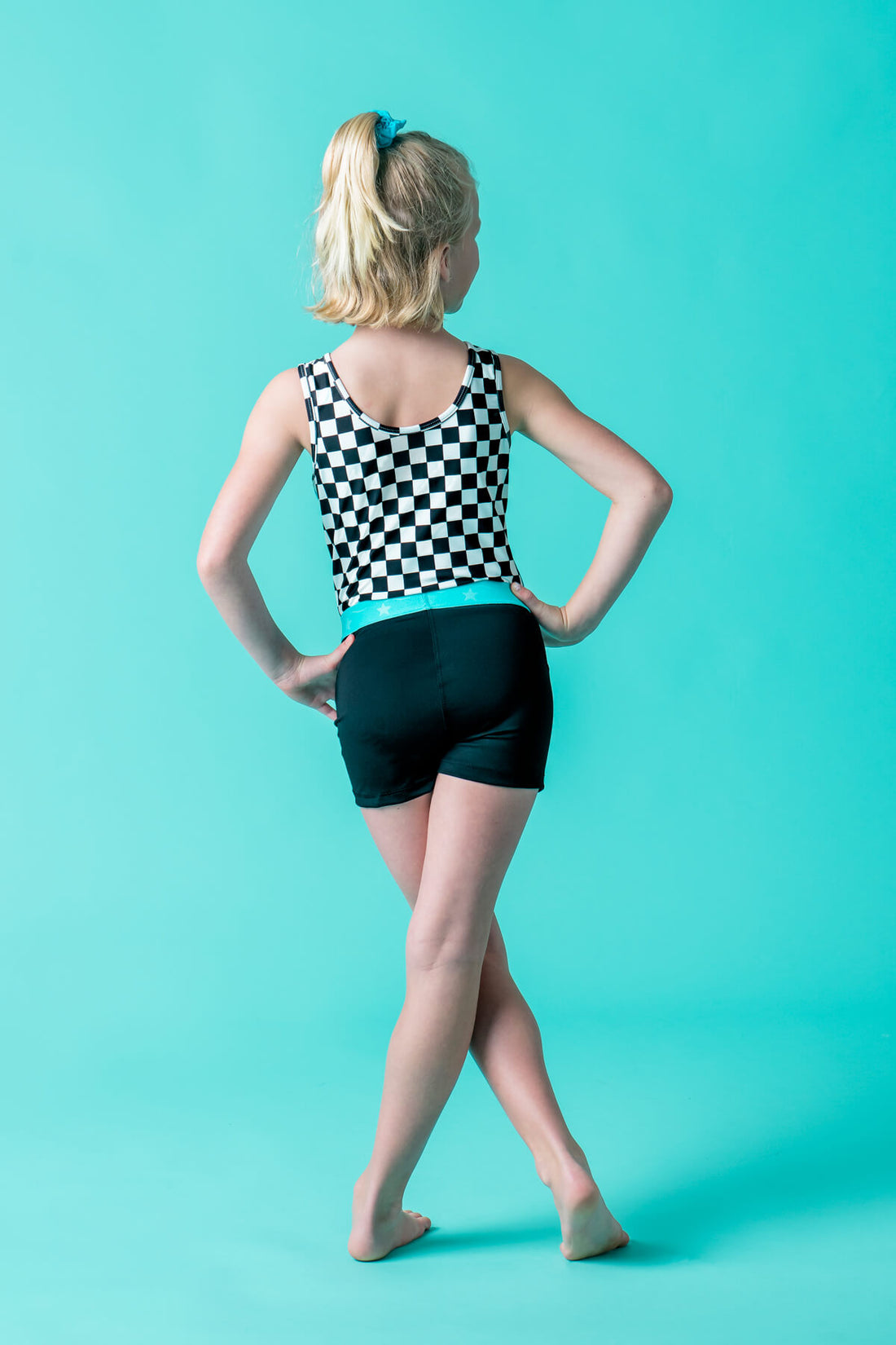 Black with Turquoise Power Flex Short
