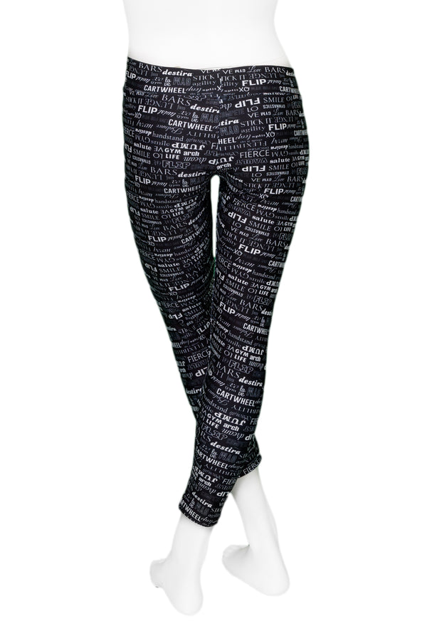 Black Gym Words Leggings