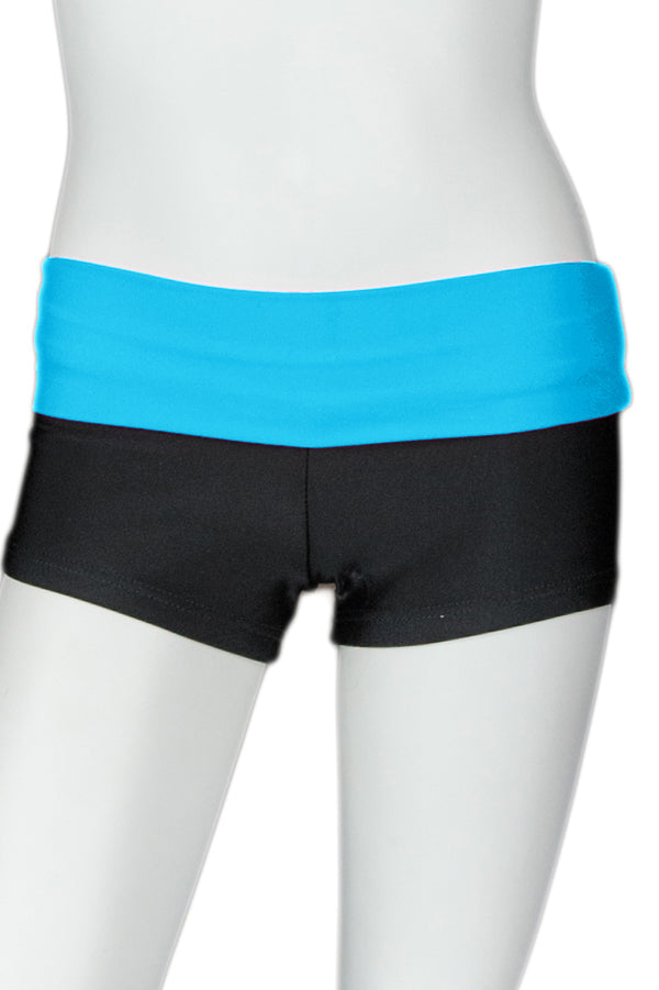 Black Short with Bright Color Waistband - Turquoise Band