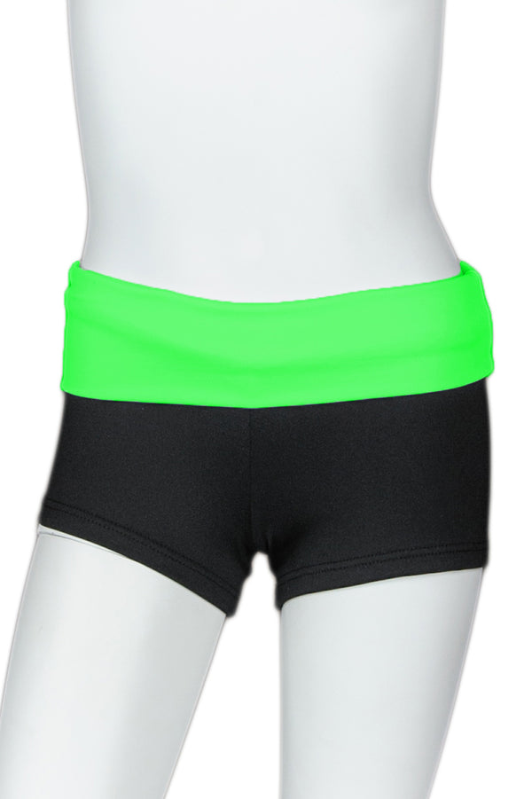 Black Short with Bright Color Waistband - Lime Band