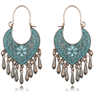 Ethnic Tribal Verdigris Patina Hoop Earrings - Oceanista