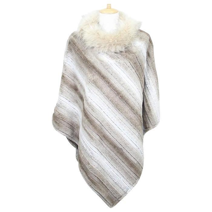Winter Beach Poncho with Soft Faux Fur Collar - Oceanista