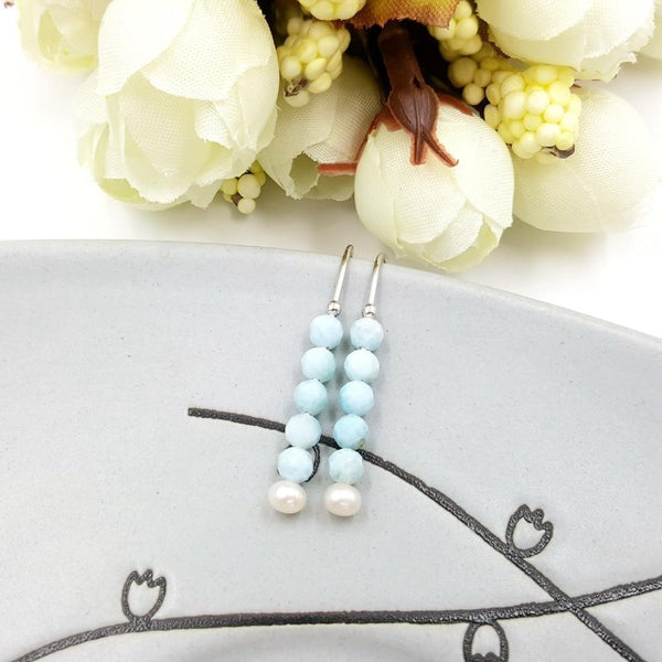 Blue Larimar Natural Stone & Freshwater Earrings - Oceanista