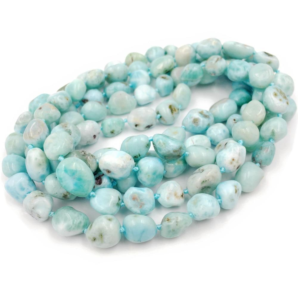 "Natural Stone Blue Larimar Approx 7-10mm Irregular Freeform Nugget Shape 48"" Long Necklace - Oceanista"