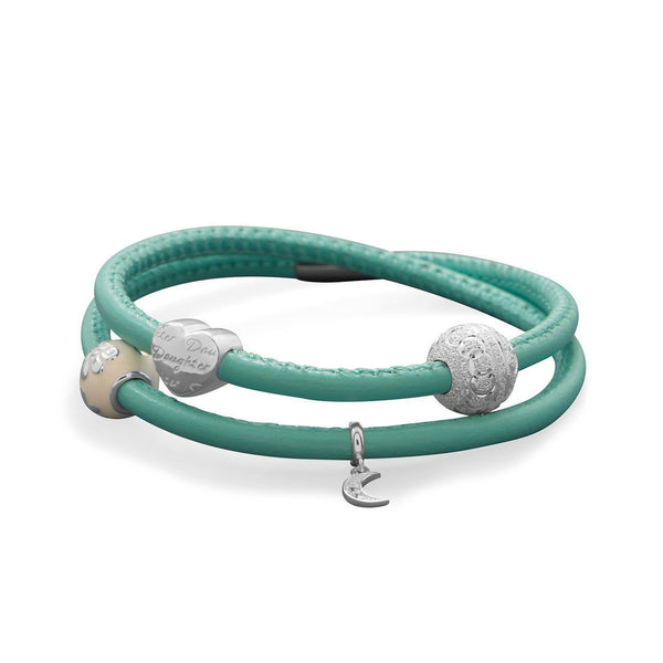 Double Wrap Ocean Blue Genuine Leather Bracelet - Oceanista