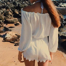 Womens Beach Casual Off-the-Shoulder Solid White Jumpsuit Shorts - Oceanista