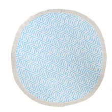 Blue Chevron Round Beach Towel - Oceanista
