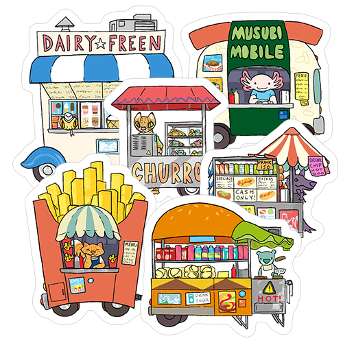 Food Truck Stickers - Dairy Freen, Musubi Mobile, Churro Cart, Hot Dog Cart, Fry Stand, and Burger Cart