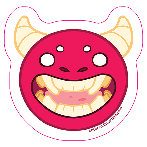 A 3-inch. bright pink sticker of the head of a monster with horns, four eyes, a flat nose, and distinctly large canine teeth.