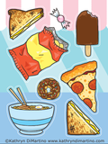 Junk Food Sticker Sheet - two halves of a grilled cheese, a piece of candy, a chocolate-dipped ice cream, crisps aka chips, a slice of pepperoni pizza, a donut, and ramen noodles.