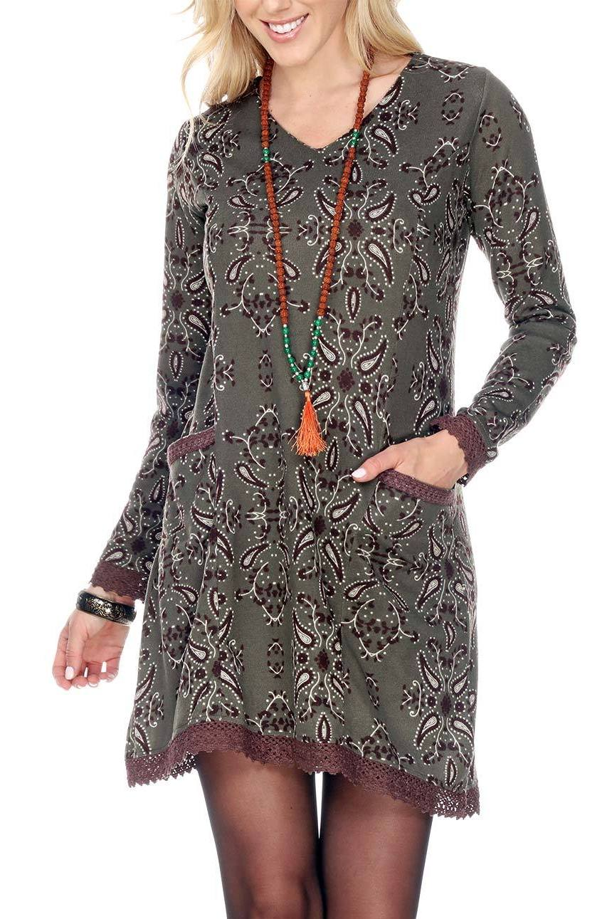 Brown V-Neck Paisley Print With Crochet Details