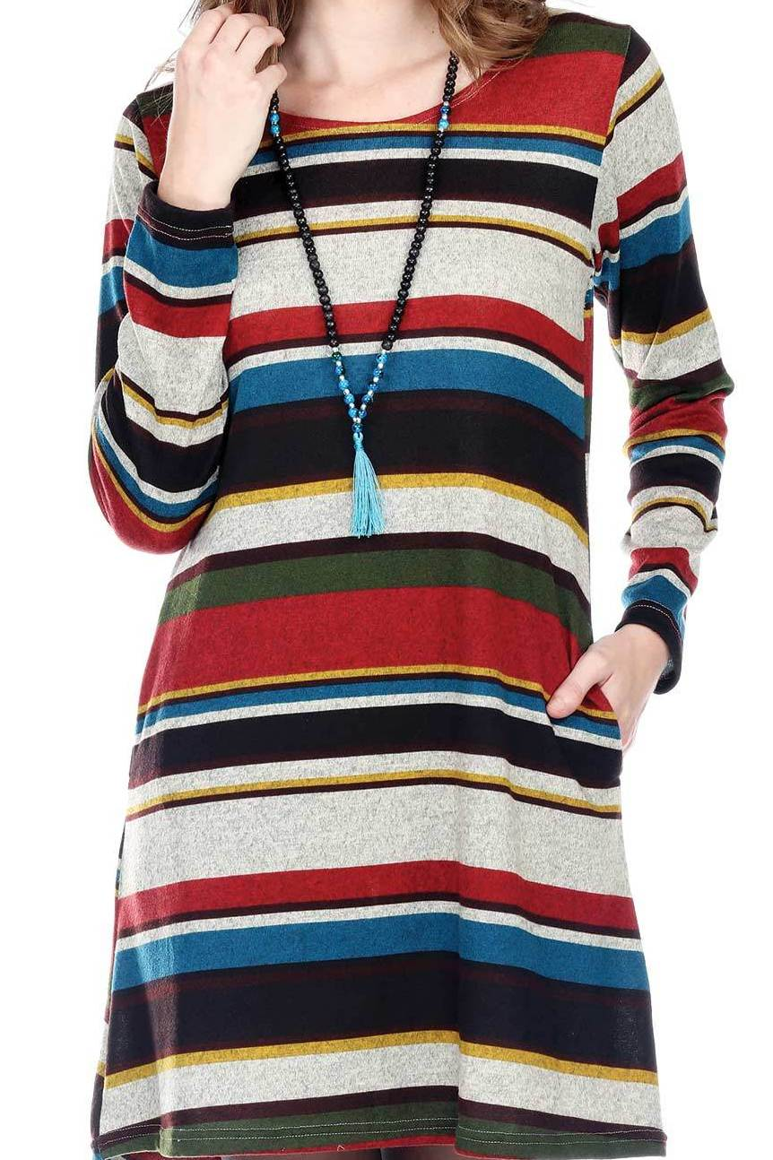Multi Rust Striped Dress With Pockets