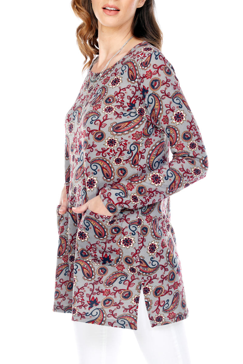Paisley Print Top Side Slit