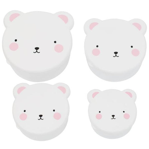 A Little Lovely Company | Bear Snack Box Set Of 4 - Pink | A Little Find