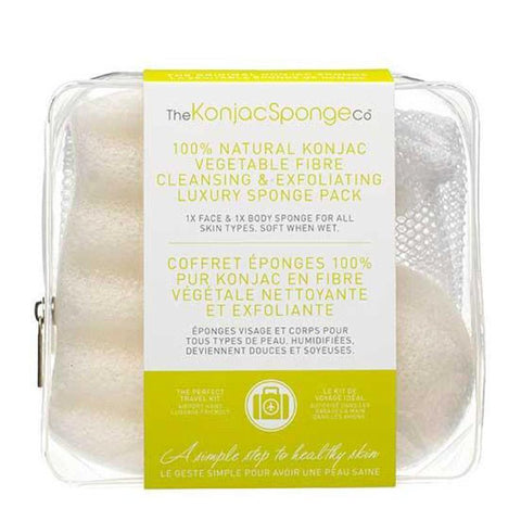 The Konjac Sponge Company | Konjac Deluxe Duo Travel Kit | A Little Find