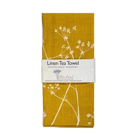 Helen Round | Tea Towel Linen Hedgerow Print Mustard | A Little Find