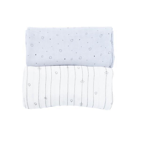 MORI | Twin Pack Muslin Swaddle - Blue & White | A Little Find