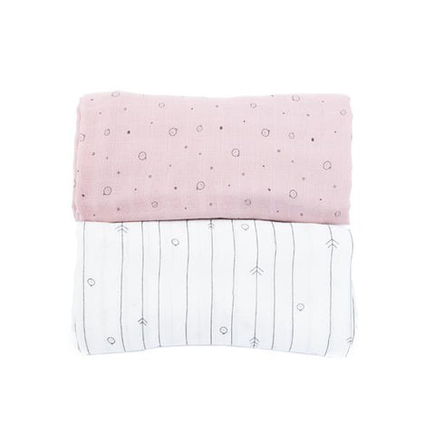 MORI | Twin Pack Muslin Swaddle - Pink & White | A Little Find