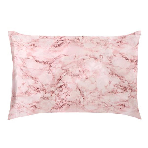 Slip | Silk Pillowcase - Queen Zippered - Pink Marble | A Little Find