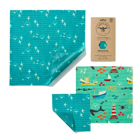 The Beeswax Wrap Co | Medium Kitchen Pack - Sea Print | A Little Find