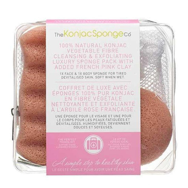 Konjac Deluxe Duo Travel Kit With French Pink Clay - Travel Kit